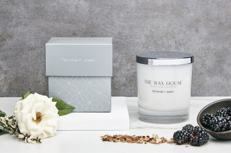 Patchouli and Amber paraben free luxury soy candle