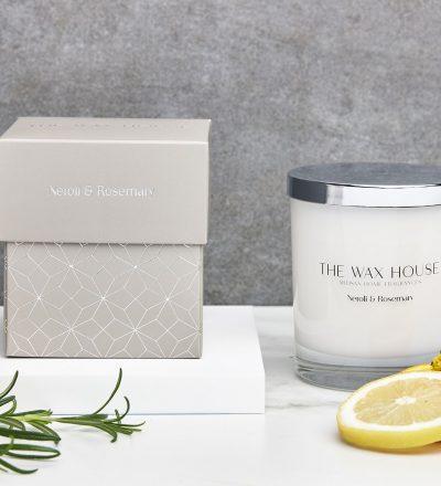Neroli and Rosemary paraben free luxury soy candle
