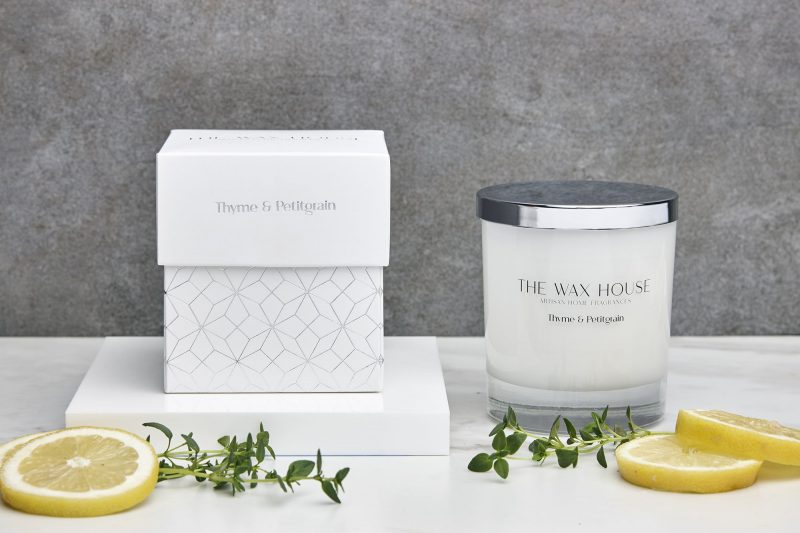 Thyme and Pettigrain paraben free luxury soy candle