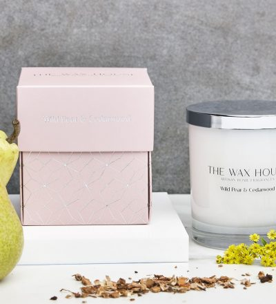 Wild Pear and Cedarwood paraben free luxury soy candle