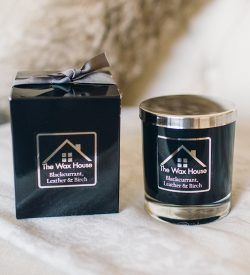Luxury Natural Soy Wax Candle gift box blackcurrant leather birch
