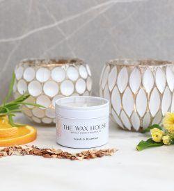 Neroli & Rosemary Luxury Soy Travel Candle white tin.