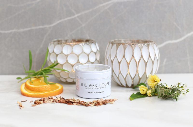Neroli & Rosemary Luxury Soy Travel Candle white tin.