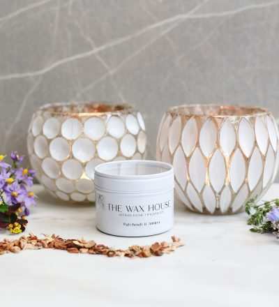 Luxury Natural Soy Travel Candle Patchouli & Amber burn time 24 hours