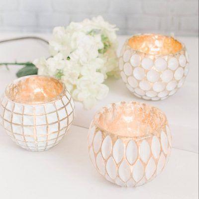 white washed glass tealight holder burning candle