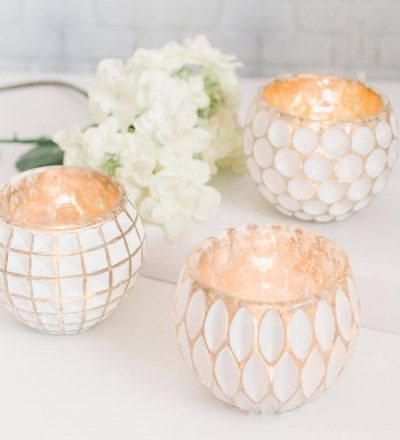 white washed glass tealight holder burning candle