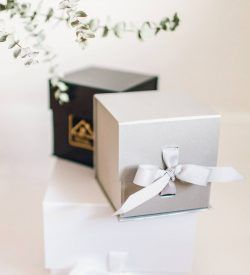 gift box silver black gift for her gift for him