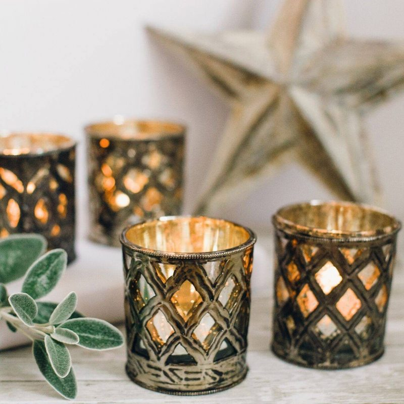 minster metal and glass tealight holders