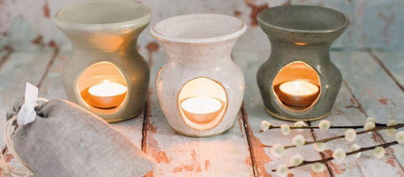 White Hand Thrown Pottery Wax Burner