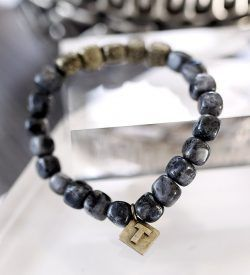 GOLD LABRADORITE AND METAL BRACELET