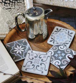 Blue/Grey Tile Coaster Set