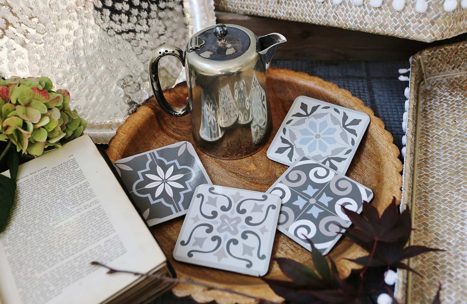 Blue/Grey Tile Coaster Set